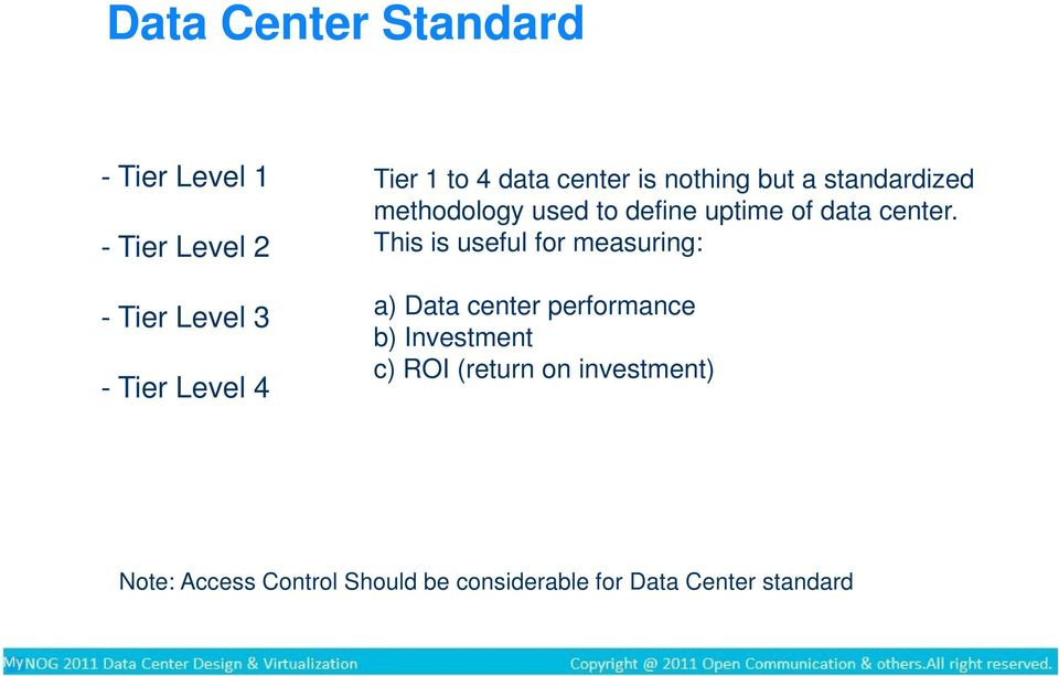 This is useful for measuring: a) Data center performance b) Investment c) ROI (return