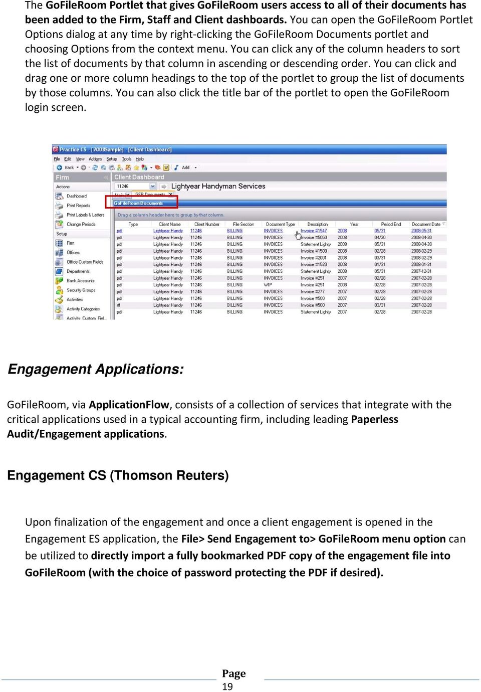 You can click any of the column headers to sort the list of documents by that column in ascending or descending order.