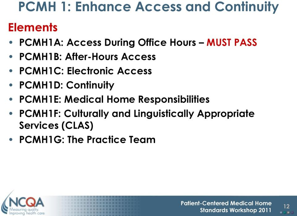 Access PCMH1D: Continuity PCMH1E: Medical Home Responsibilities PCMH1F: