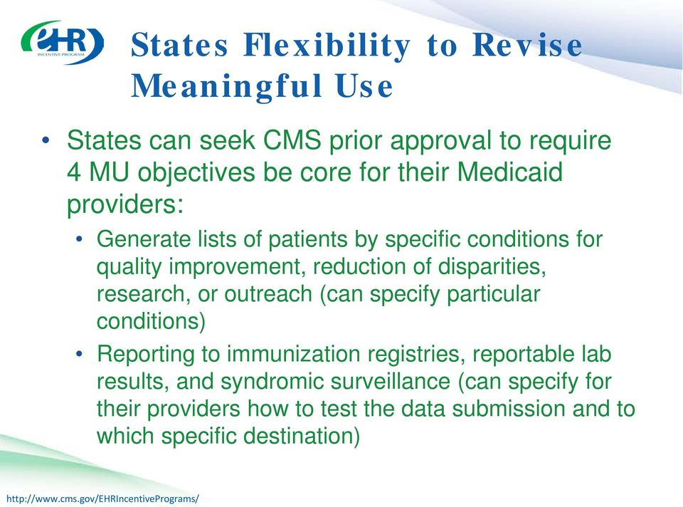 disparities, research, or outreach (can specify particular conditions) Reporting to immunization registries, reportable