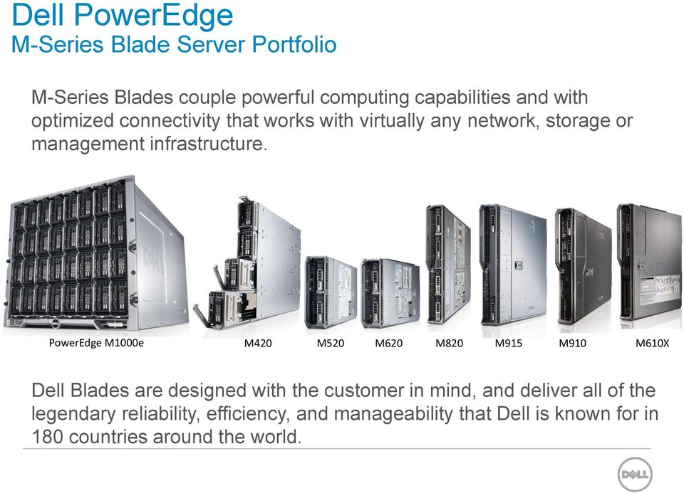 PowerEdge M1000e M420 M520 M620 M820 M915 M910 M610X Dell Blades are designed with the customer in mind, and deliver
