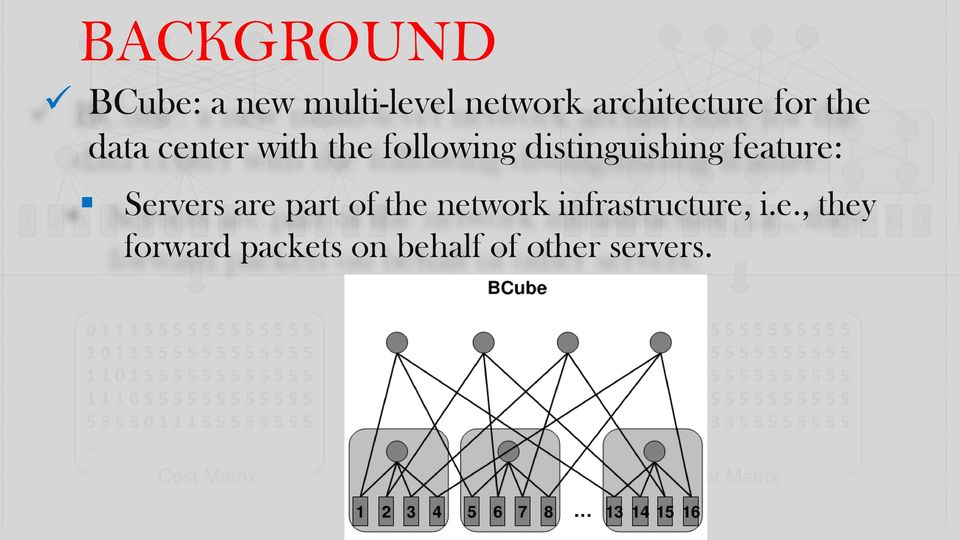 distinguishing feature: Servers are part of the network