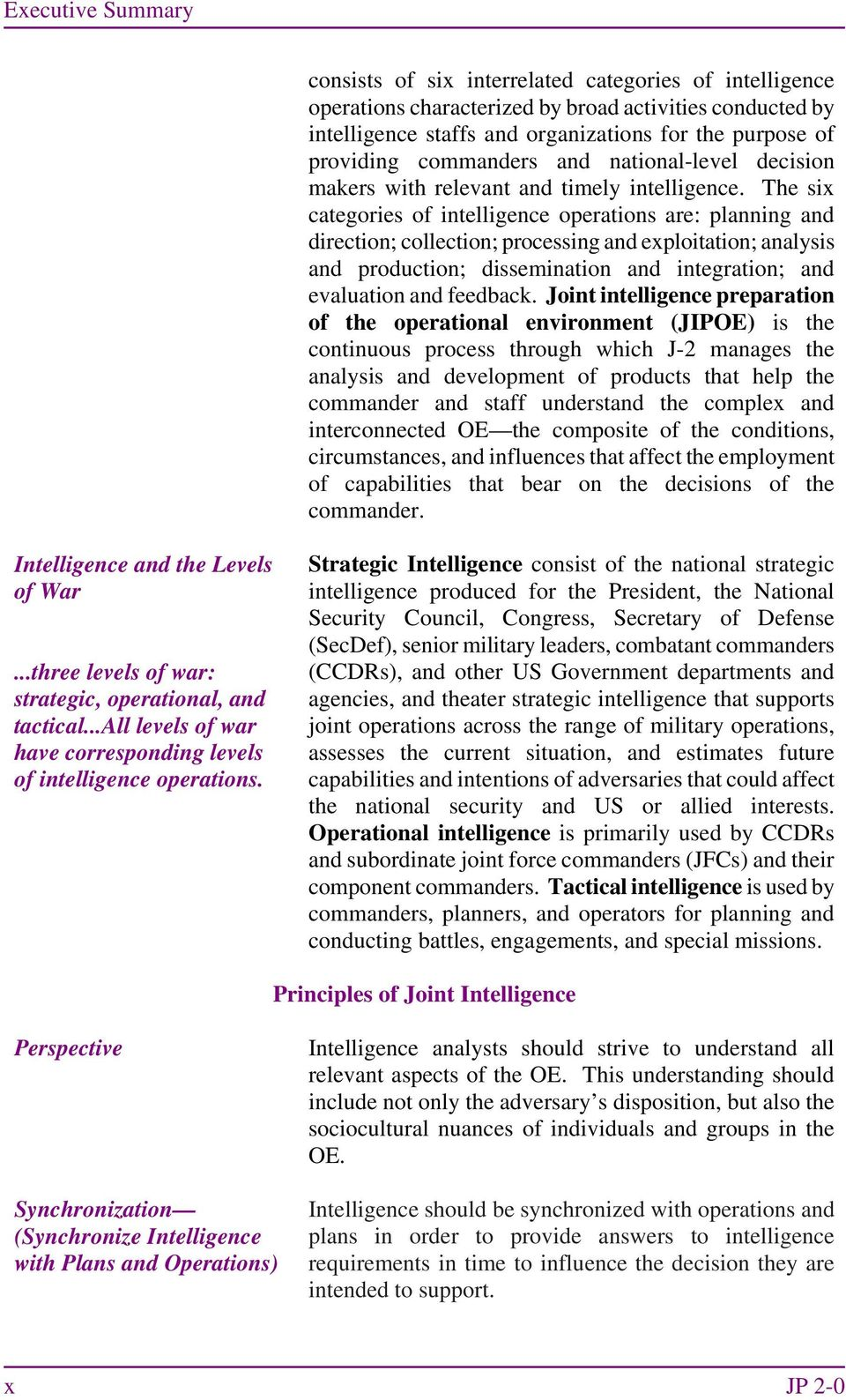 The six categories of intelligence operations are: planning and direction; collection; processing and exploitation; analysis and production; dissemination and integration; and evaluation and feedback.