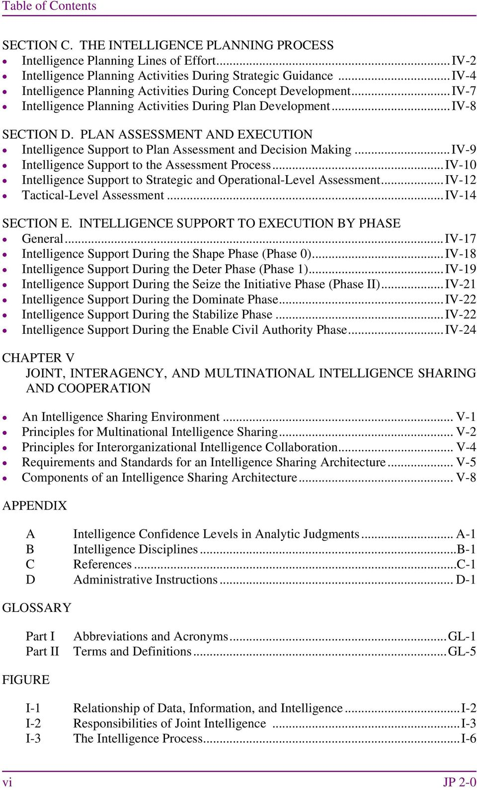 PLAN ASSESSMENT AND EXECUTION Intelligence Support to Plan Assessment and Decision Making... IV-9 Intelligence Support to the Assessment Process.