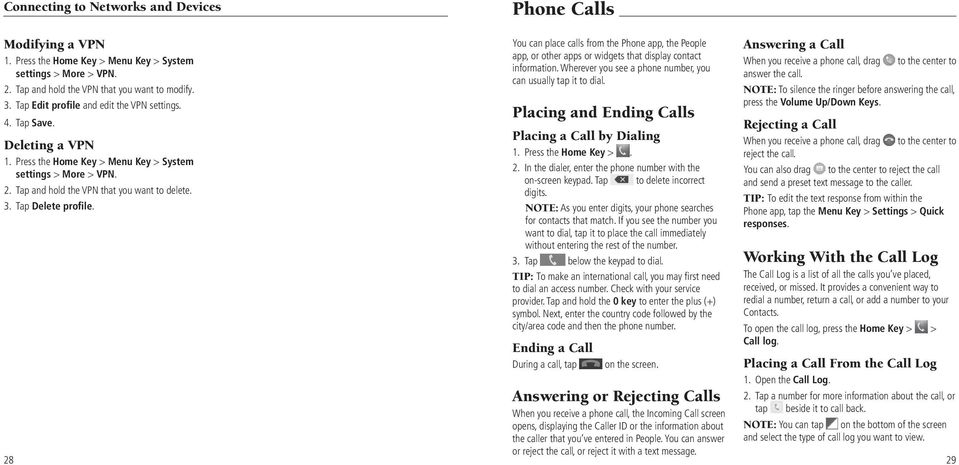 28 Phone Calls You can place calls from the Phone app, the People app, or other apps or widgets that display contact information. Wherever you see a phone number, you can usually tap it to dial.