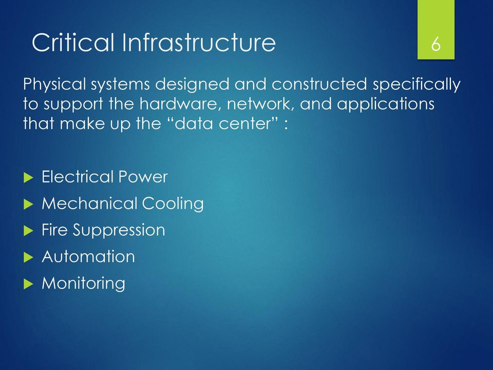 and applications that make up the data center : Electrical