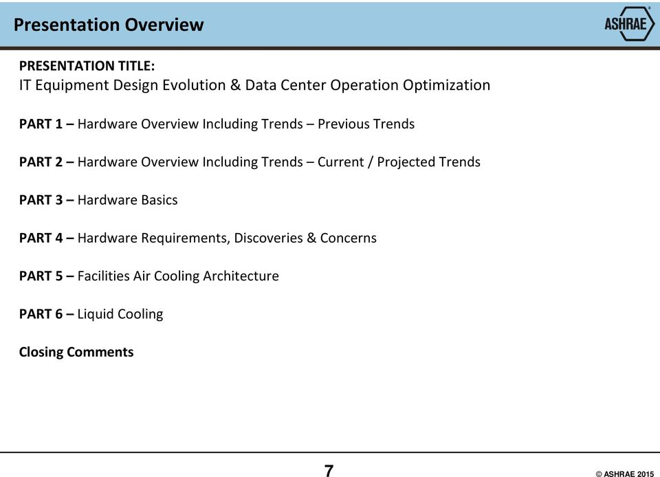 Including Trends Current / Projected Trends PART 3 Hardware Basics PART 4 Hardware Requirements,