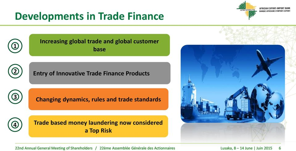 Products 3 Changing dynamics, rules and trade standards 4 Trade