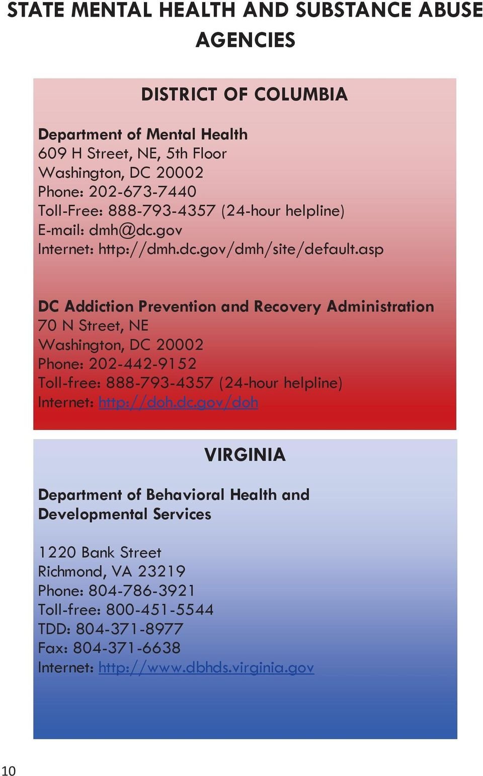 asp DC Addiction Prevention and Recovery Administration 70 N Street, NE Washington, DC 20002 Phone: 202-442-9152 Toll-free: 888-793-4357 (24-hour helpline) Internet: