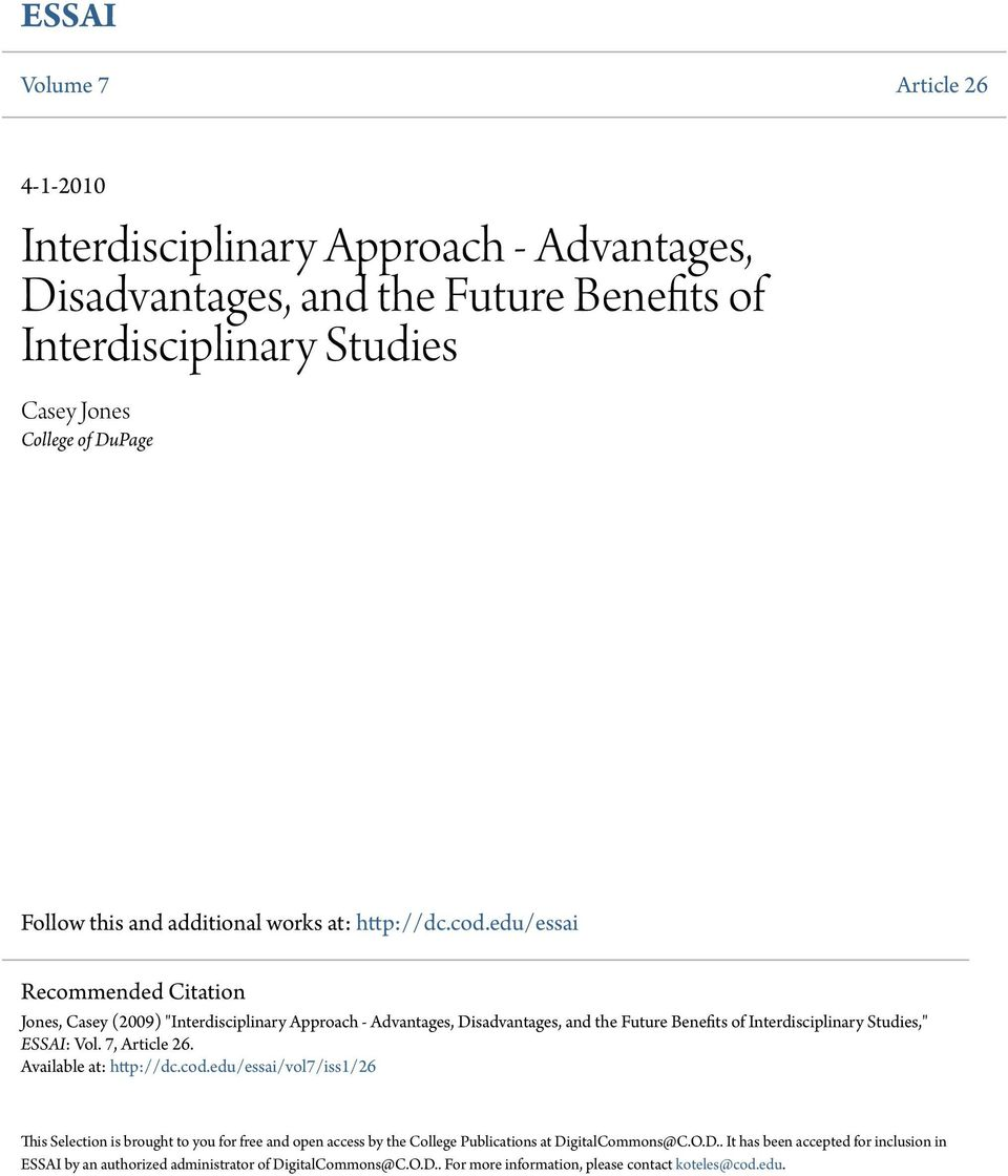 Edu Essai Recommended Citation Jones Casey 2009 Interdisciplinary Approach