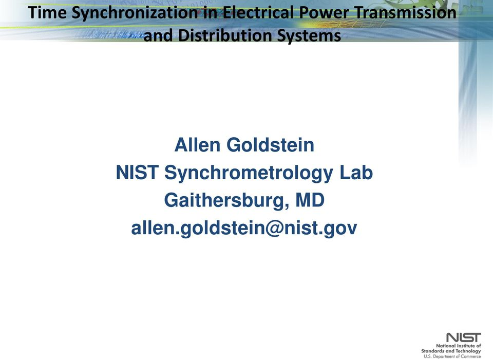 Allen Goldstein NIST Synchrometrology