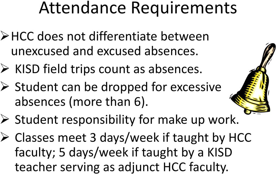 Student can be dropped for excessive absences (more than 6).