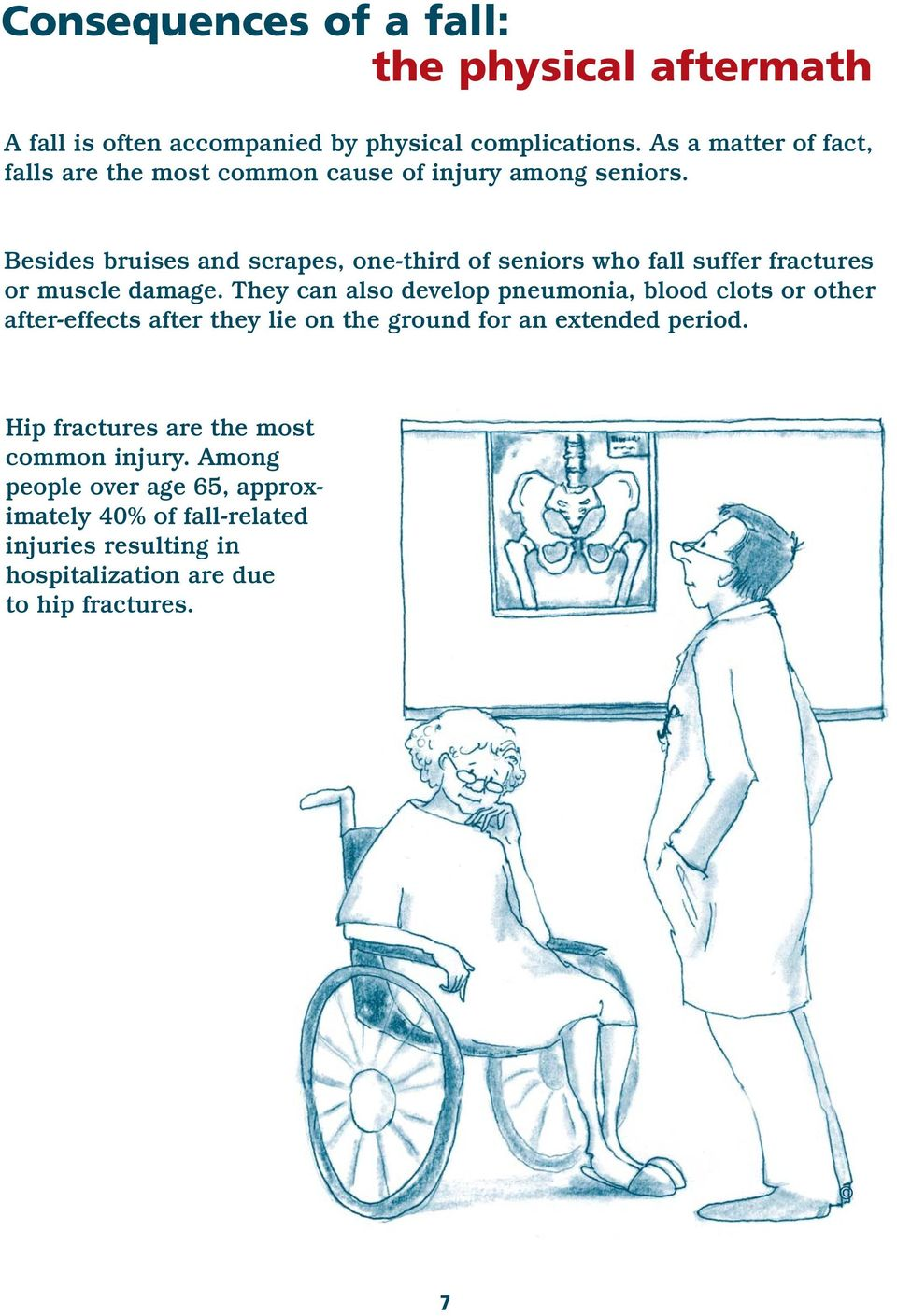 Besides bruises and scrapes, one-third of seniors who fall suffer fractures or muscle damage.