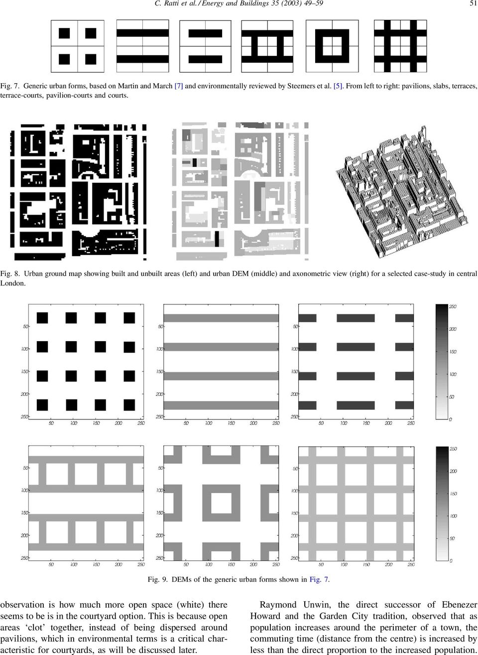 Urban ground map showing built and unbuilt areas (left) and urban DEM (middle) and axonometric view (right) for a selected case-study in central London. Fig. 9.