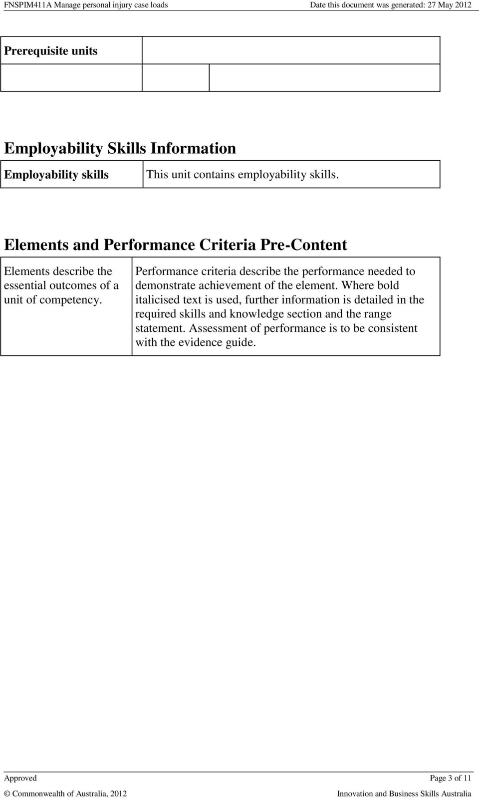 Performance criteria describe the performance needed to demonstrate achievement of the element.