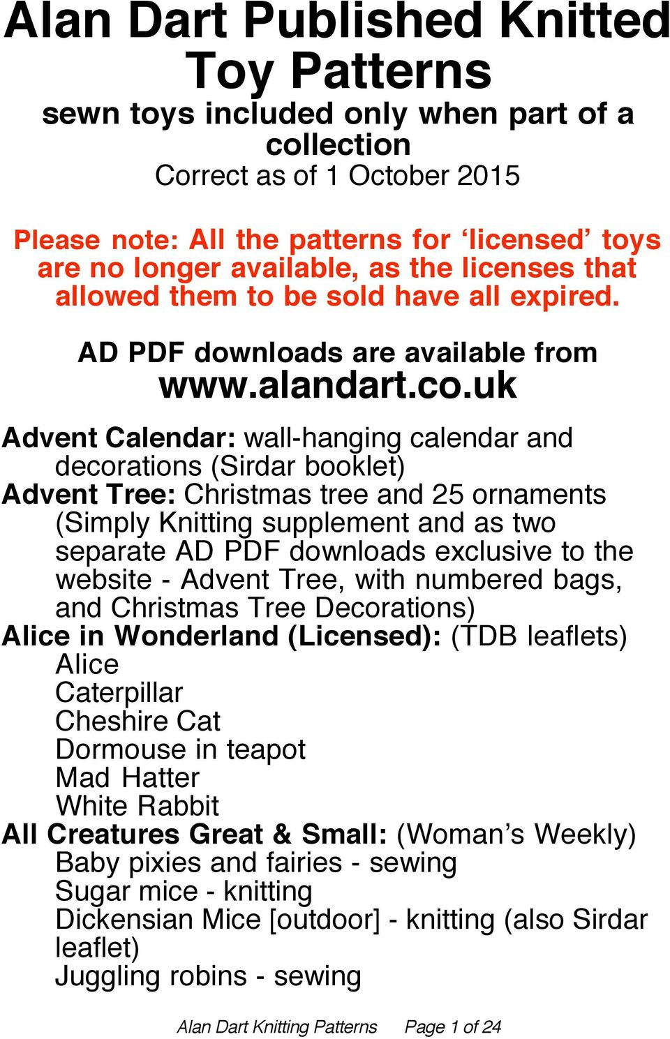Alan Dart Published Knitted Toy Patterns - PDF