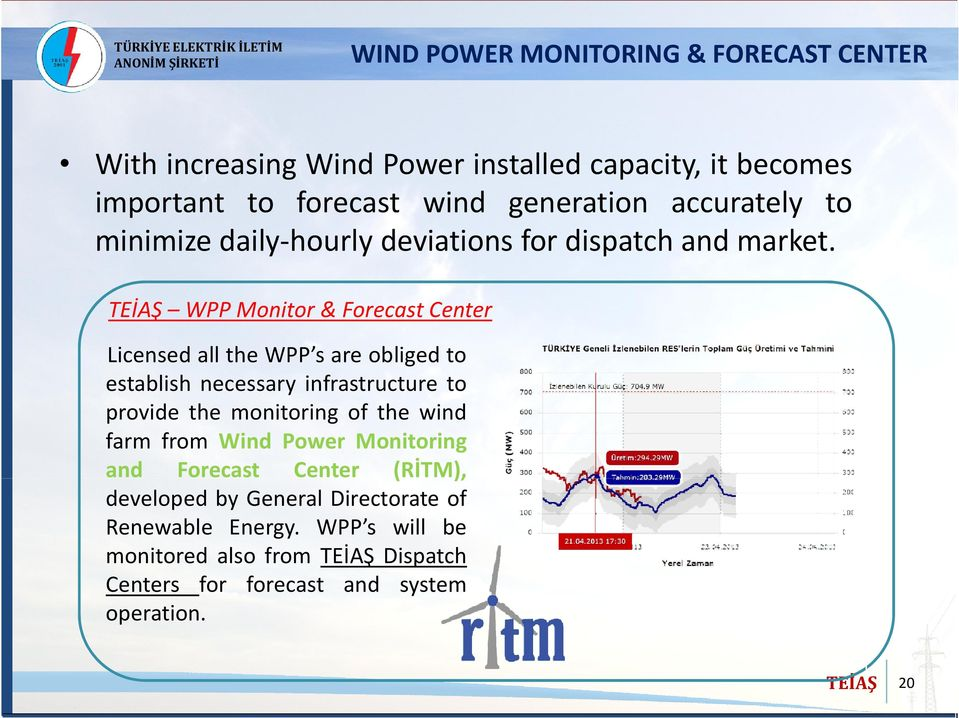 WPP Monitor & Forecast Center Licensed all the WPP s are obliged to establish necessary infrastructure to provide the monitoring of the