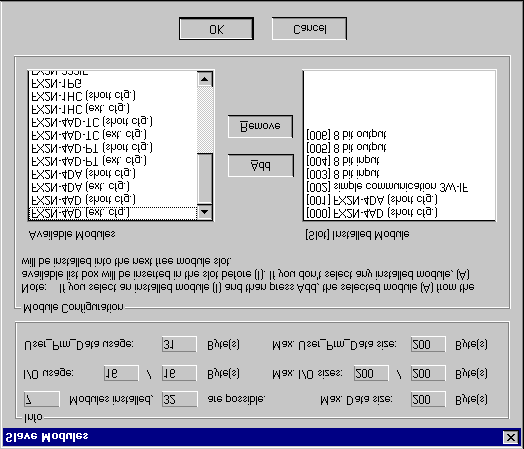 FX2N-32DP-IF Profibus-DP Interface Unit Appendix A: Figure A-4: Slave Modules Dialog Box The Slave Modules dialog box shows the Available Modules and the installed Modules.
