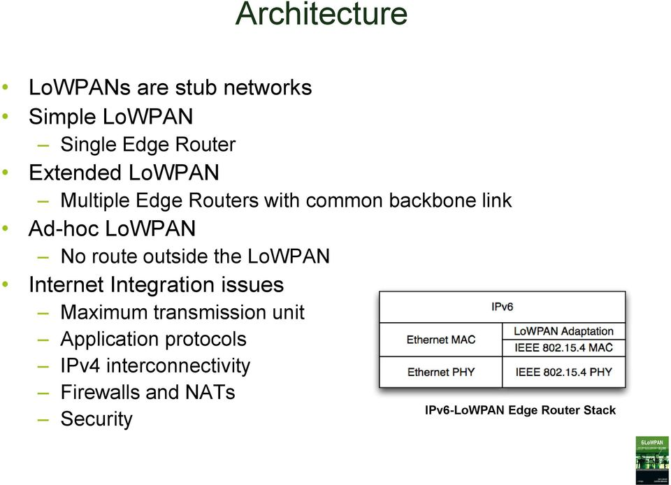 outside the LoWPAN Internet Integration issues Maximum transmission unit