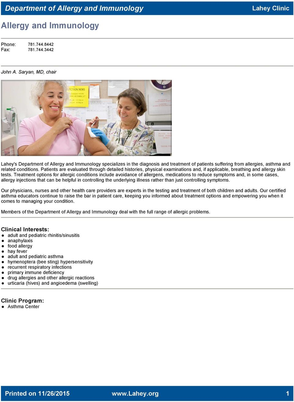 A Guide to Multispecialty Care at Lahey Clinic  DIRECTORY OF