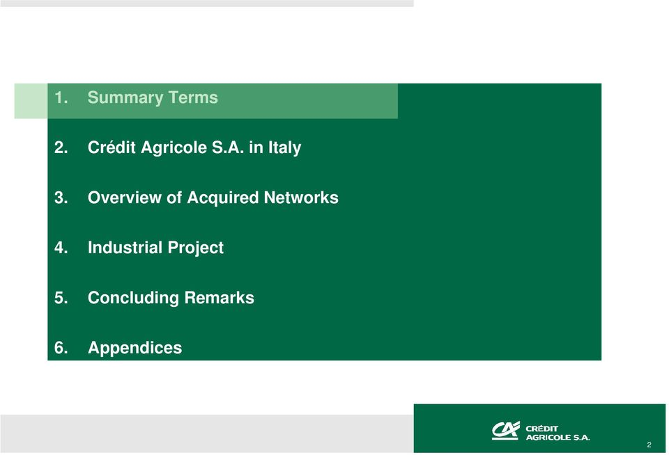 Overview of Acquired Networks 4.