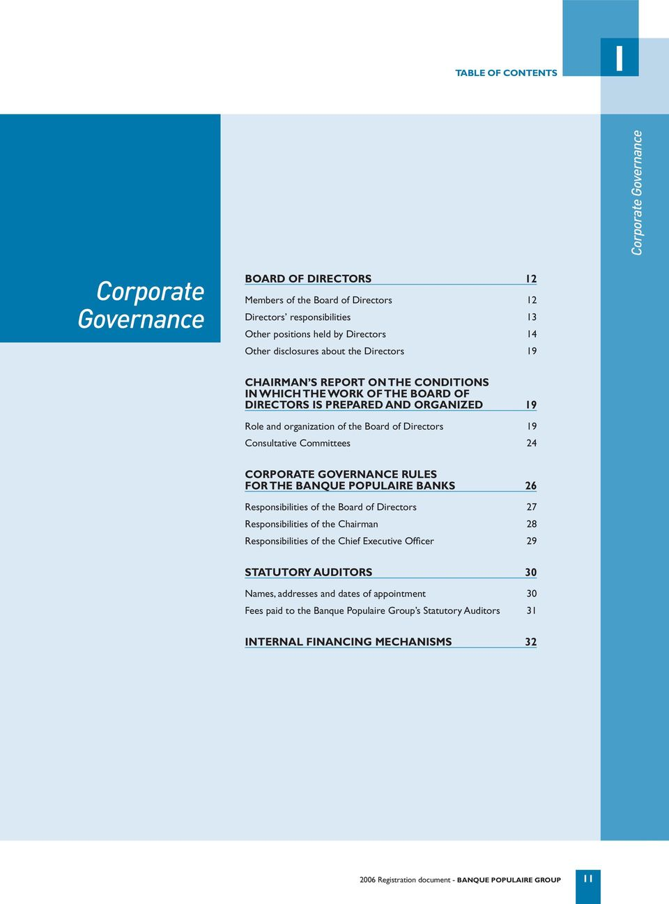 Consultative Committees 24 CORPORATE GOVERNANCE RULES FOR THE BANQUE POPULAIRE BANKS 26 Responsibilities of the Board of Directors 27 Responsibilities of the Chairman 28 Responsibilities of the Chief