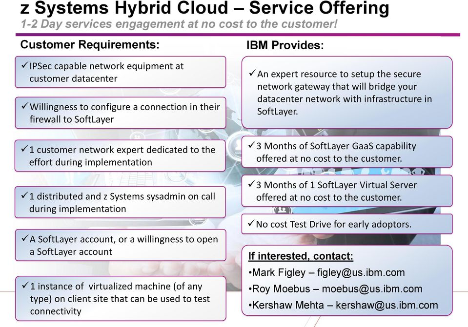 the effort during implementation 1 distributed and z Systems sysadmin on call during implementation A SoftLayer account, or a willingness to open a SoftLayer account 1 instance of virtualized machine