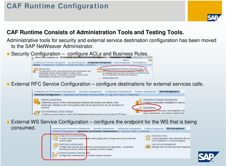 NetWeaver Administrator. Security Configuration configure ACLs and Business Rules.