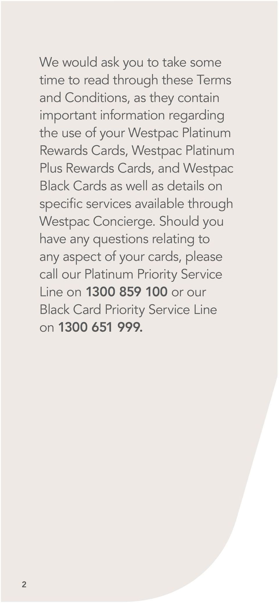 well as details on specific services available through Westpac Concierge.