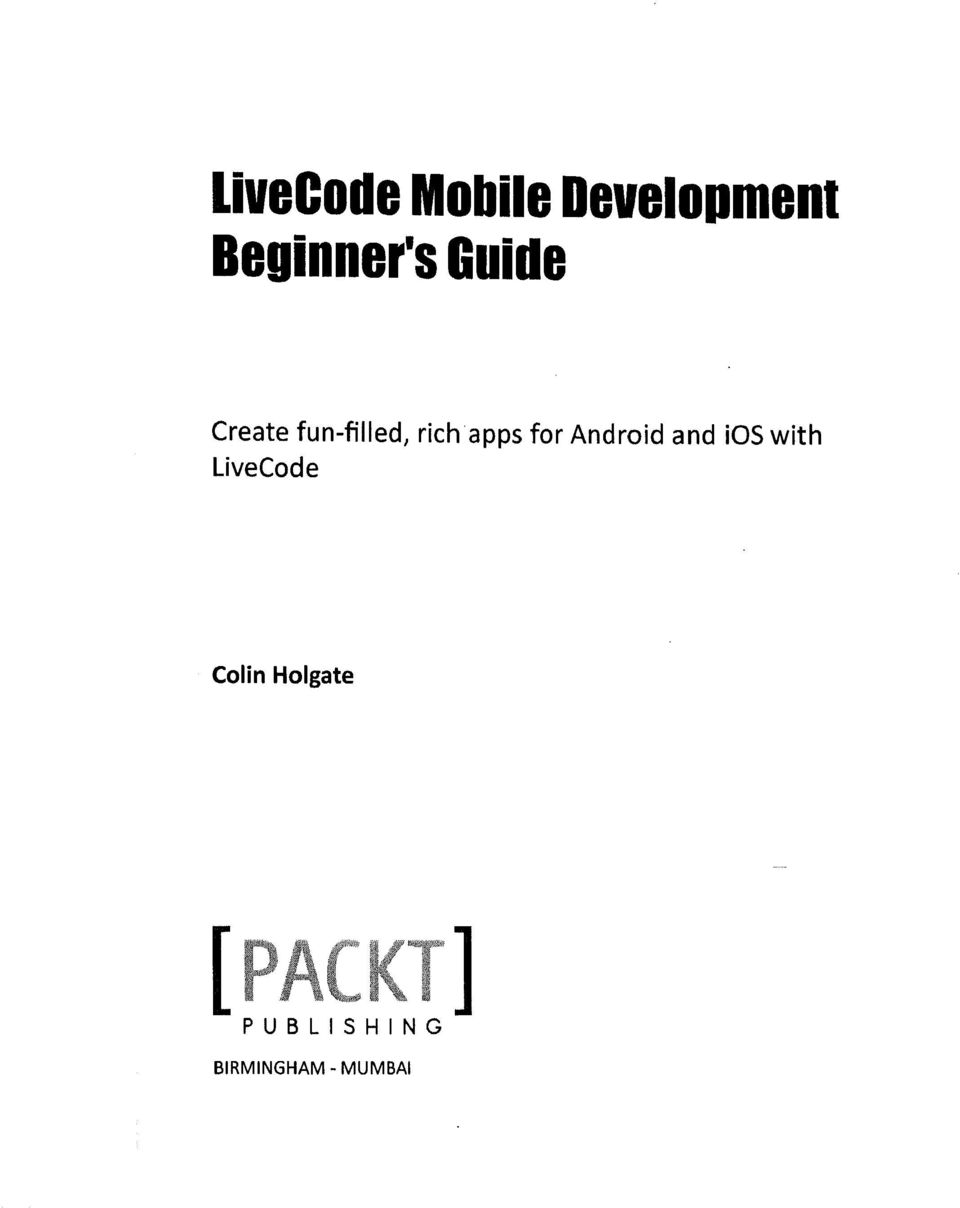 Android and ios with LiveCode Colin