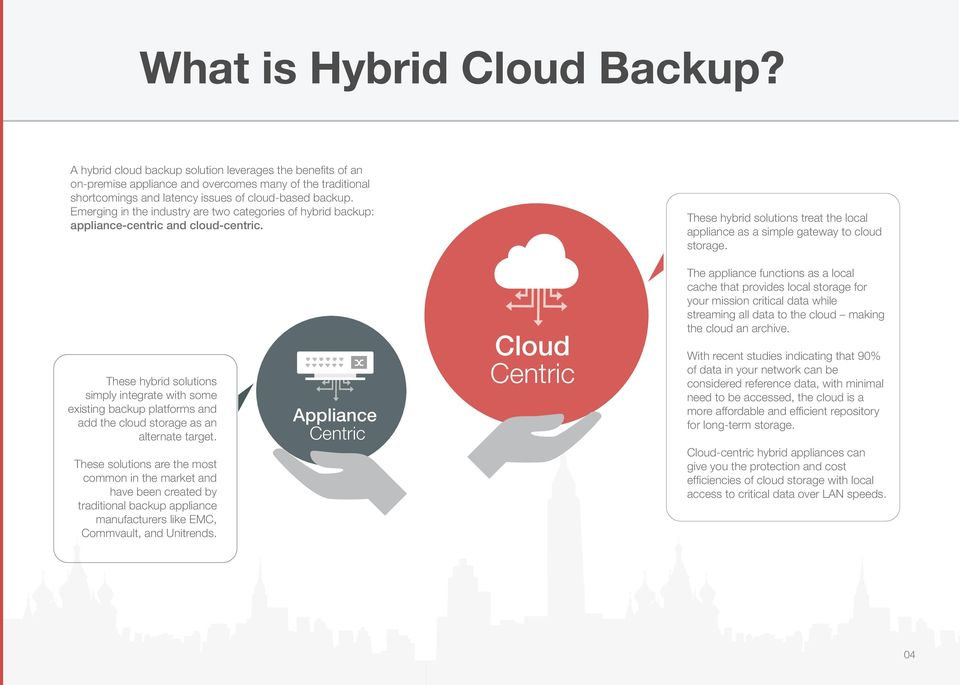 Emerging in the industry are two categories of hybrid backup: appliance-centric and cloud-centric. These hybrid solutions treat the local appliance as a simple gateway to cloud storage.