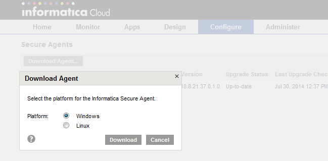 After successful Informatica Passport account creation, you will be prompted for Informatica Cloud registration: Log in to Informatica Cloud by clicking on Click here : Or log into Informatica Cloud