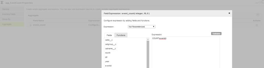 e. Define the aggregate field as COUNT(eventid) : 7. Expression transformation exp_addfields : a.