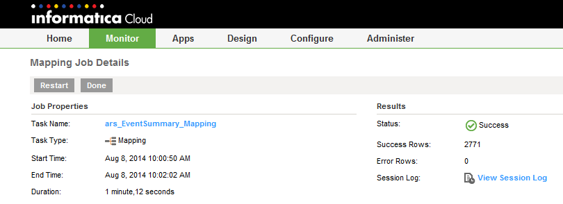 5. Review the mapping task execution log after the task completes:
