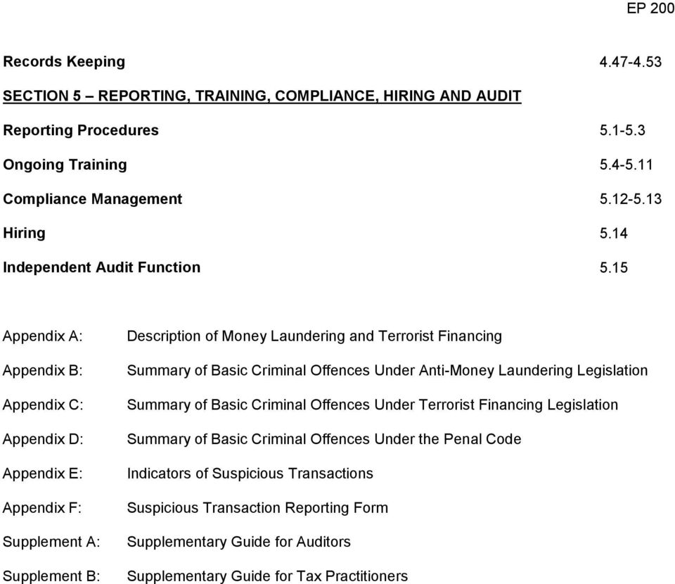 15 Appendix A: Appendix B: Appendix C: Appendix D: Appendix E: Appendix F: Supplement A: Supplement B: Description of Money Laundering and Terrorist Financing Summary of Basic