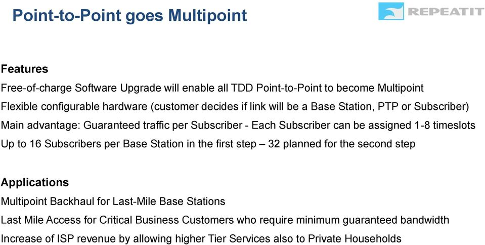 timeslots Up to 16 Subscribers per Base Station in the first step 32 planned for the second step Applications Multipoint Backhaul for Last-Mile Base Stations