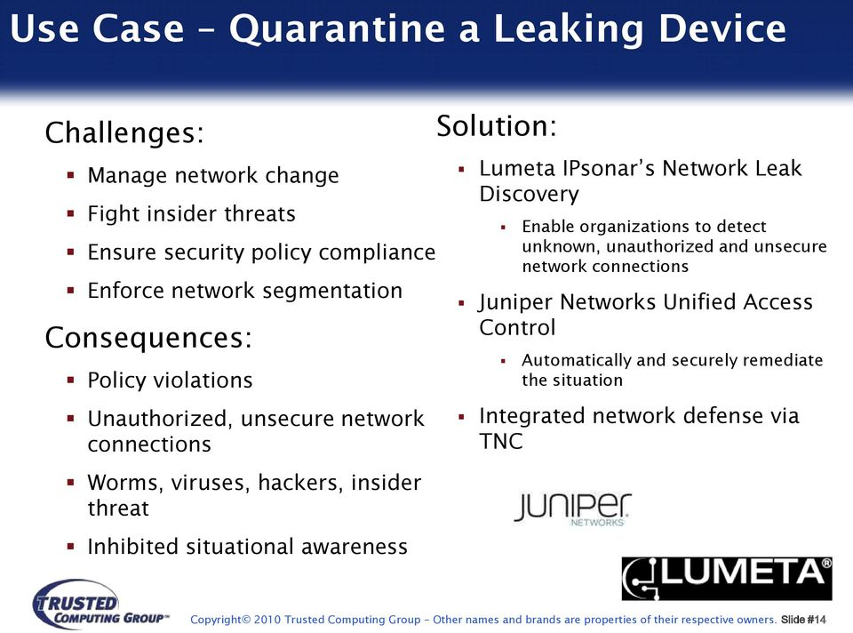 Leak Discovery Enable organizations to detect unknown, unauthorized and unsecure network connections Juniper Networks Unified Access Control Automatically and securely
