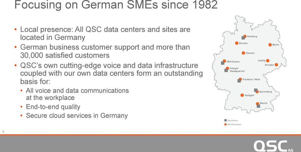 outstanding basis for: All voice and data communications at the workplace End-to-end quality Secure cloud services in Germany Oberhausen