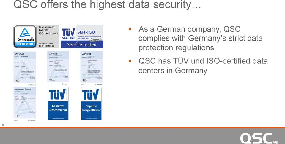 strict data protection regulations QSC has