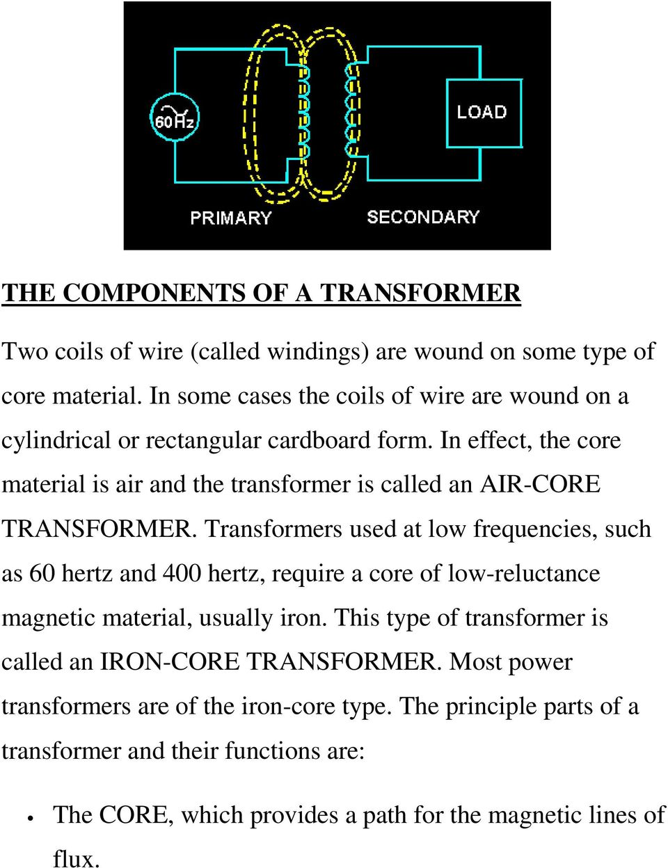 In effect, the core material is air and the transformer is called an AIR-CORE TRANSFORMER.