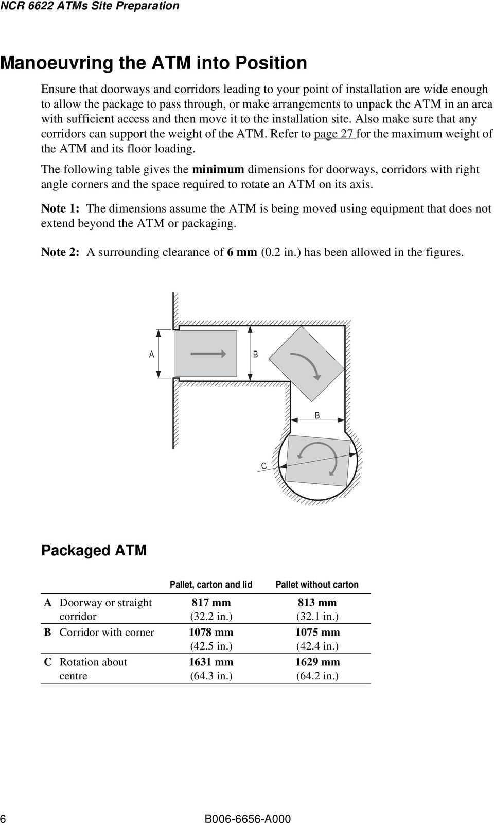 Refer to page 27 for the maximum weight of the TM and its floor loading.