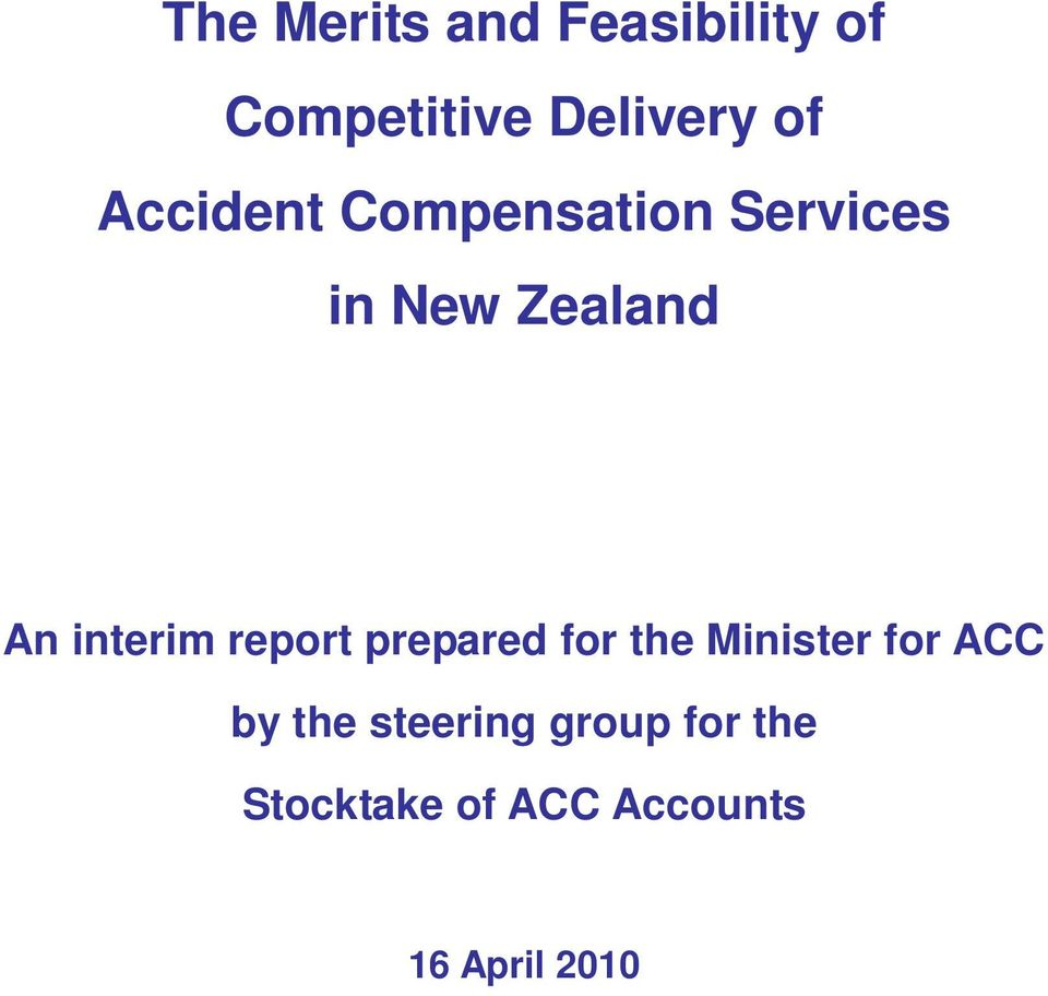 interim report prepared for the Minister for ACC by the