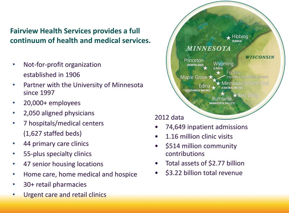 hospitals/medical centers (1,627 staffed beds) 44 primary care clinics 55-plus specialty clinics 47 senior housing locations Home care, home medical