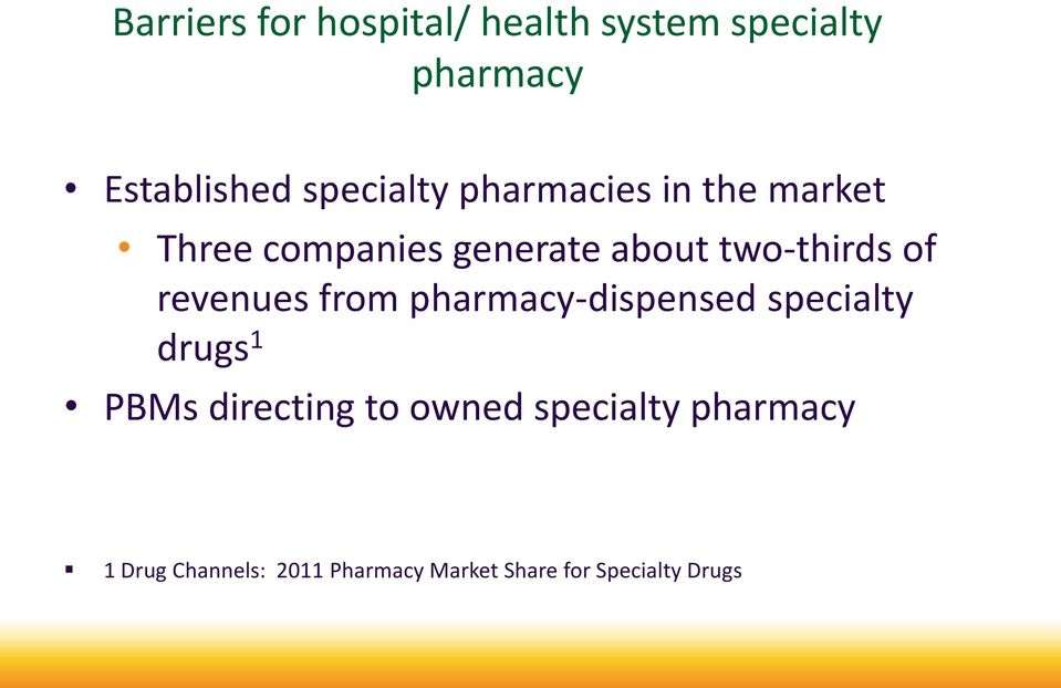 of revenues from pharmacy-dispensed specialty drugs 1 PBMs directing to