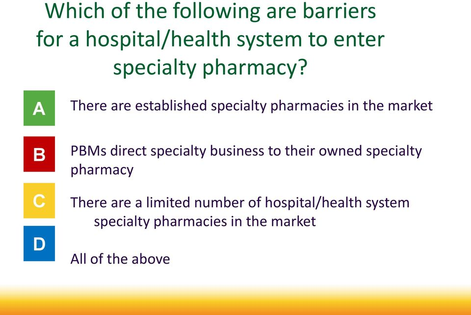 A B C D There are established specialty pharmacies in the market PBMs direct
