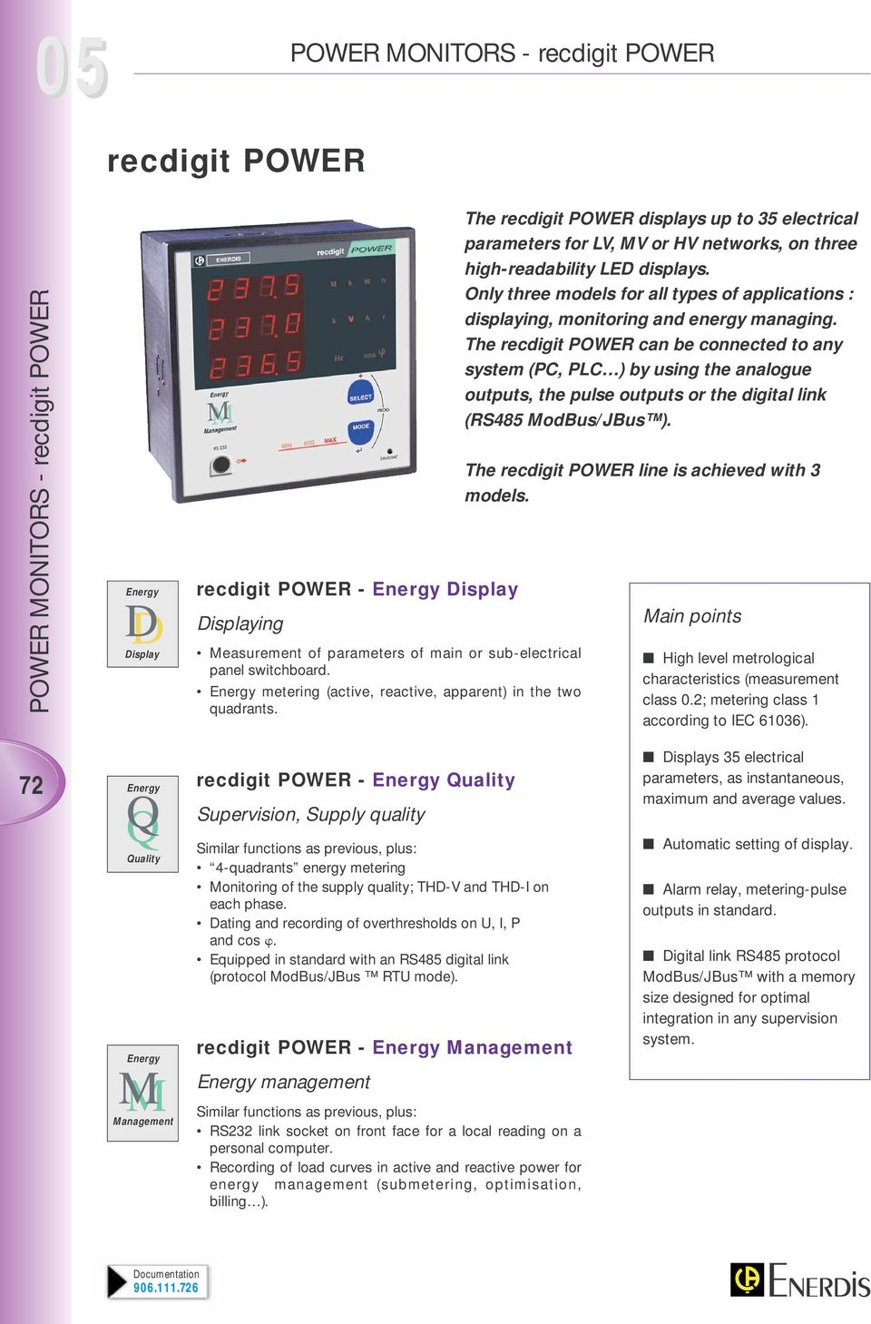 Only three models for all types of applications : displaying, monitoring and energy managing.