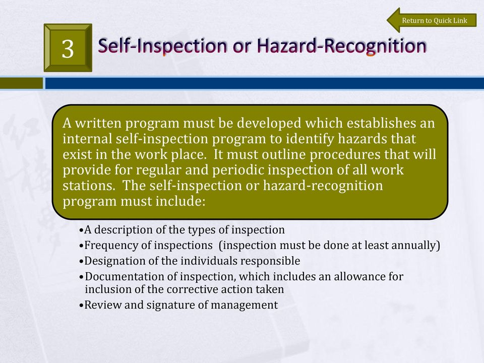 The self-inspection or hazard-recognition program must include: A description of the types of inspection Frequency of inspections (inspection must be done
