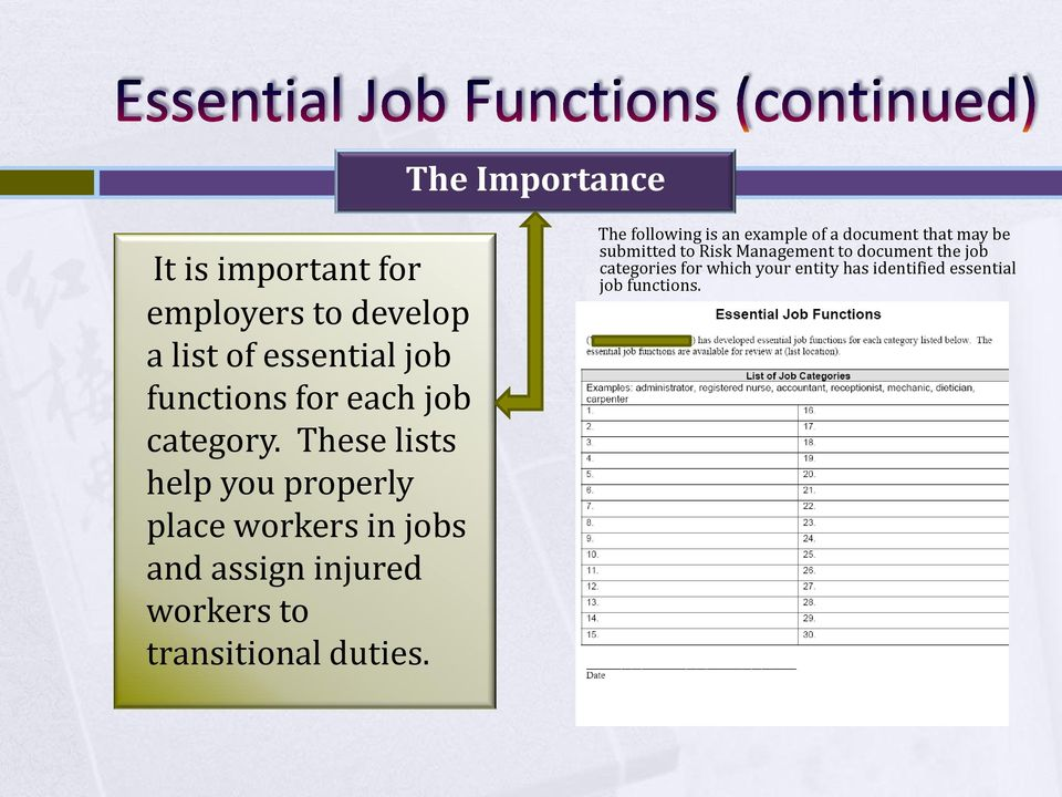 These lists help you properly place workers in jobs and assign injured workers to transitional