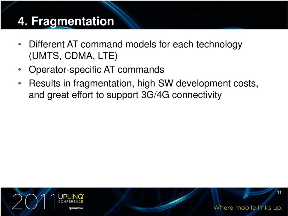 commands Results in fragmentation, high SW