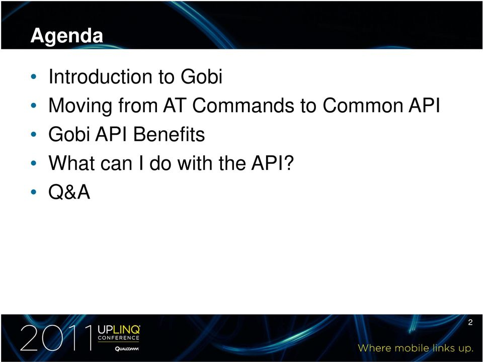 Common API Gobi API Benefits